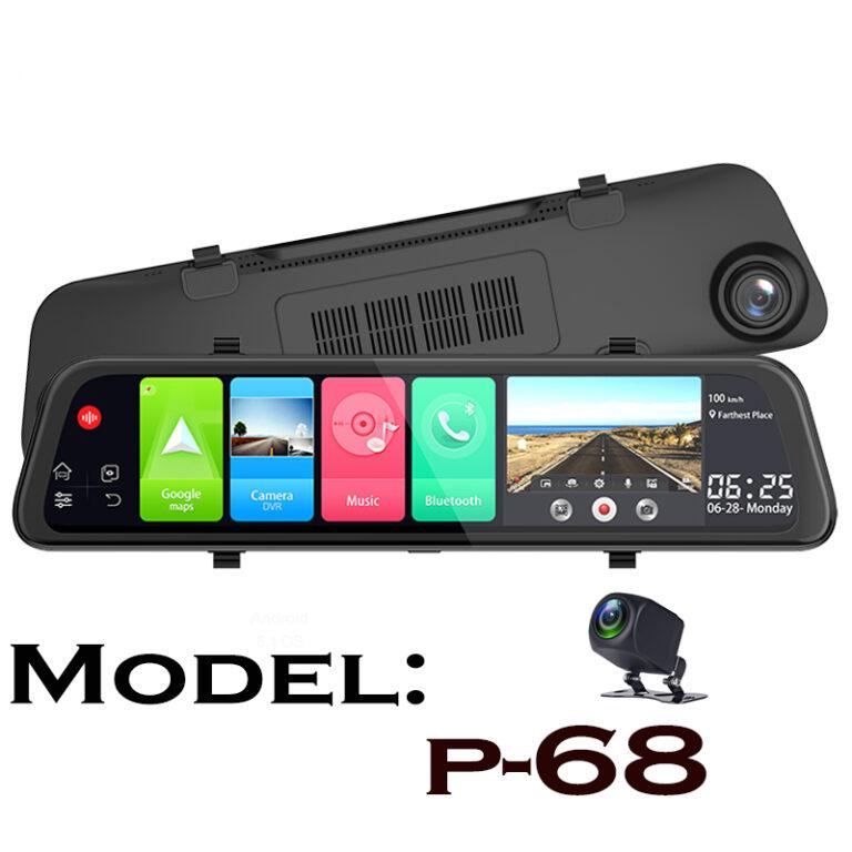 دوربین آینه ای هوشمند سیمکارتخور 4G اندروید  12 اینچ مدل P-68 phisung