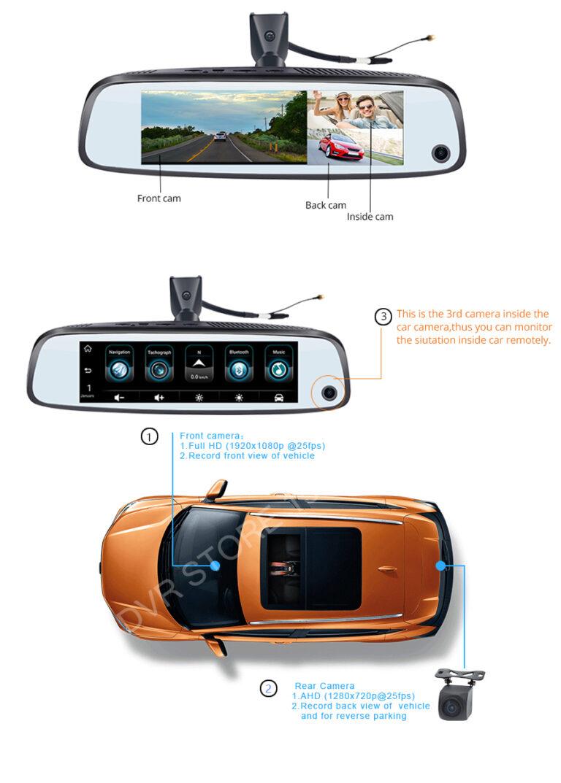 آینه هوشمند سه دوربین سیمکارتخور 4G مدل K3000