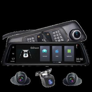 آینه مانیتور دار 10 اینچی اندروید سیمکارتخور 4 دوربین مدل V9plus